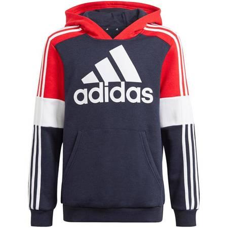 Bluza dla dzieci adidas Essentials Colorblock Hoodie granatowo-czerwona GN3981