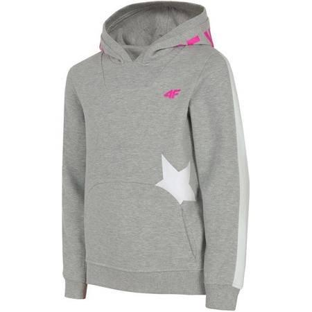 Bluza dla dziewczynki 4F chłodny jasny szary melanż HJZ19 JBLD001 27M